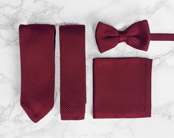 Frederick Thomas Knitted Mens Tie and Pocket Square Set Maroon Burgundy Hanky