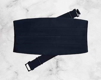 Handmade Classic Navy Tuxedo Cummerbund   Adjustable   Prom Accessories   Tuxedo Belt Waistband  
