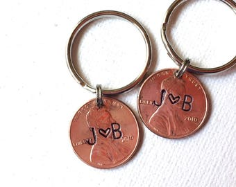 anniversary keychains, penny, seventh anniversary, copper anniversary, wedding gift, hand stamped, set of two keychains, 2011 or any year