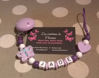Pacifier clip personalized with name Butterfly purple white lilac purple heart lollipop