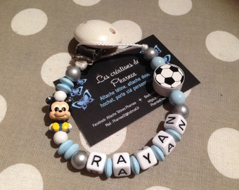 Pacifier pacifier personalized with name mickey baby blue balloon white football blue silver