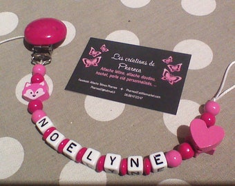 Pacifier clip personalized with name cat Fox fuchsia magenta pink heart lollipop