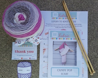Beginner Knitting KIT   Learn to Knit a Scarf   Learn to Knit Kit   Knitting Starter Kit   DIY Knitting Kit   Aran Scarf Knitting Kit   COS
