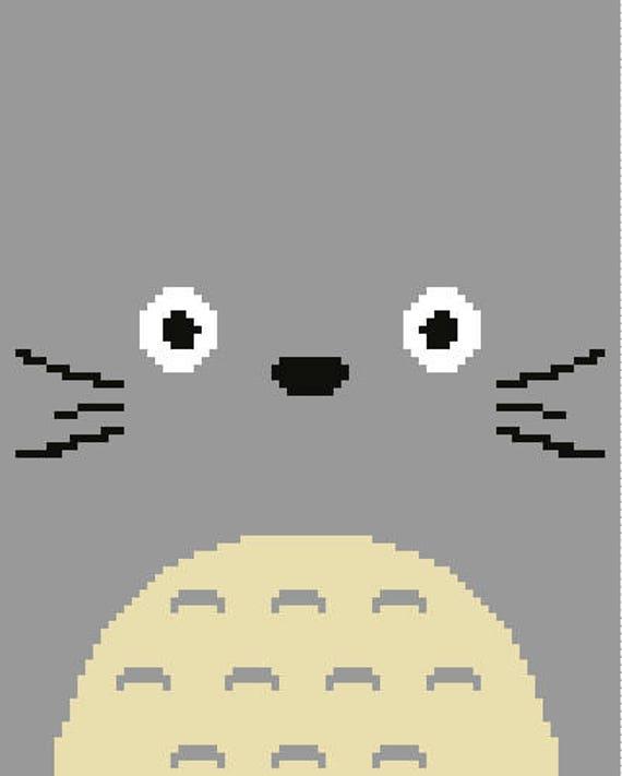 Totoro Face Studio Ghibli Crochet C2c Knit Cross Stitch Etsy