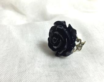 Bohemian black resin Rose Adjustable ring