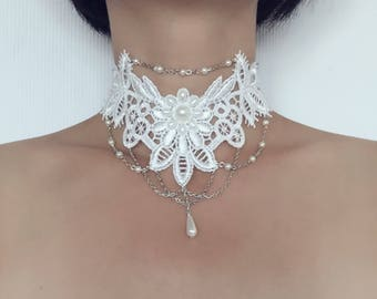 romantic vintage style necklace/necklace for weeding/wedding white lace