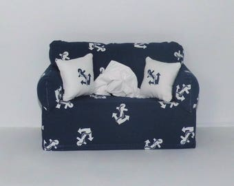 Miniature deco sofa with pillow for handkerchiefs/cosmetic boxes, color blue/white anchor