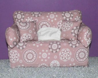 Miniature deco sofa with pillow for handkerchiefs/cosmetic boxes, color Alt-Rose