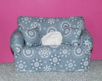 Miniature deco sofa with pillow for handkerchiefs/cosmetic boxes, color blue-grey
