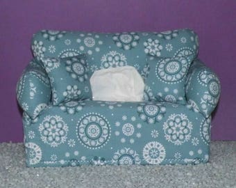 Miniature deco sofa with pillow for handkerchiefs/cosmetic boxes, colour turquoise