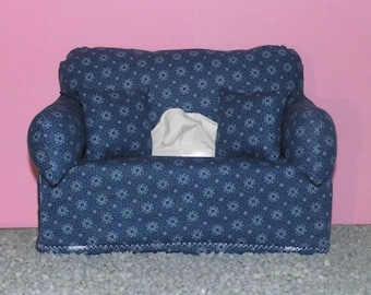 Miniature deco sofa with pillow for handkerchiefs/cosmetic boxes, color blue