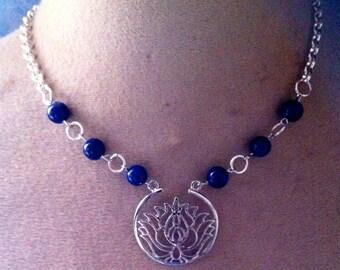 lapis lazuli lotus flower necklace