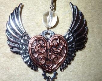 heart pendant winged steampunk