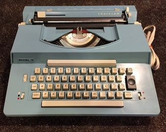 Unique FULLY FUNCTIONING 1970s Royal Traveler Electric Typewriter - Robin's Egg Blue