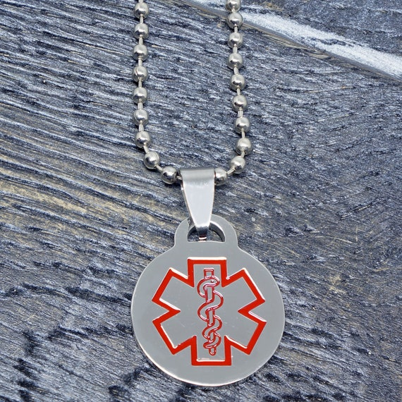 EPILEPSY Stainless Steel Medical Alert Round Pendant//Charm Free Bead Ball Chain