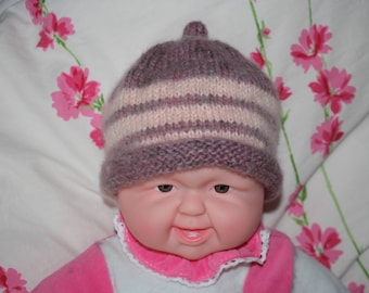 Girl hand knitted newborn Hat