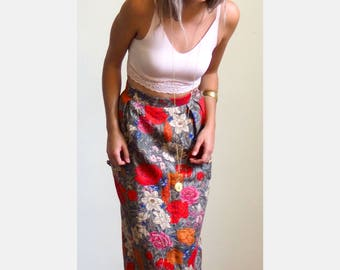 Vintage 1980s Floral High Waist Skirt