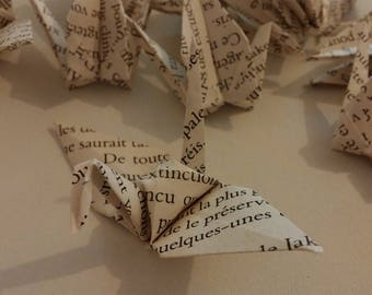 Origami cranes: bookish Collection (recycling)
