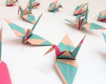 Collection Bi-Triangle origami cranes