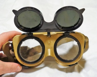 57b095b4a50 vintage Welders Goggles flip up shade safety glasses SteamPunk CosPlay  Industrial Cyber Mad Science aeroship Gothic Air Pirate Moto engineer