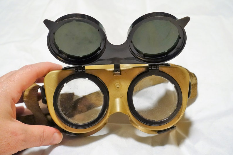 9d1880bb76d4 Vintage Welders Goggles flip up shade safety glasses SteamPunk