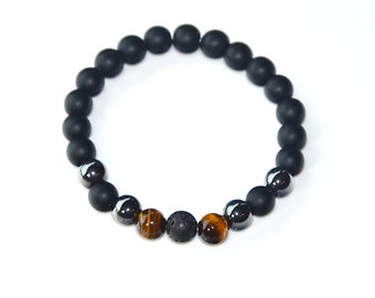 Grounding Bracelet: Lava, Hematite & Tigers Eye