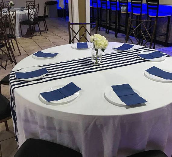 Navy Blue White Striped Table Runners Nautical