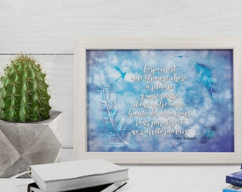 """Poster A5 with quote of Emily Dickinson - """"Hope is the thing with feathers  That perches in the soul  And sings the tune without..."""""""