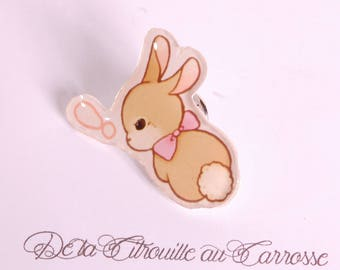 Kawaii style rabbit pin badge, pink bowknot