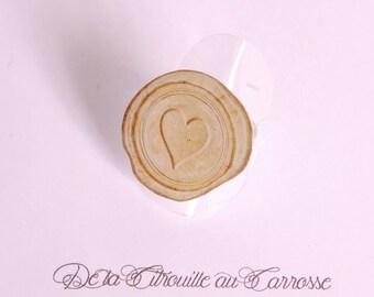 Wax seal like ring, heart