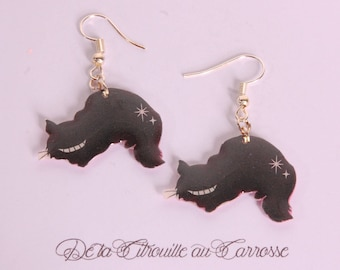 Earrings, Chesire cat, black cat, fairy tale, kawaii accessories