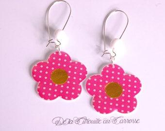 White polka dots Flower Earrings