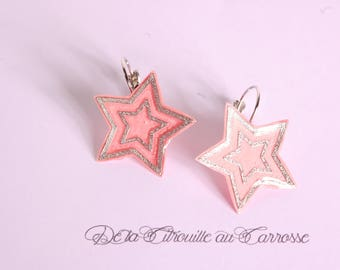 Coral and Silver Star earrings