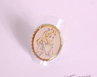 Ring, medallion, Alice, pastel, kawaii, free size ring, kawaii accessories