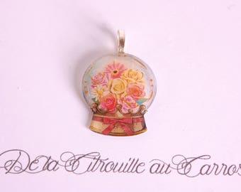 Snowglobe pendant, floral pattern