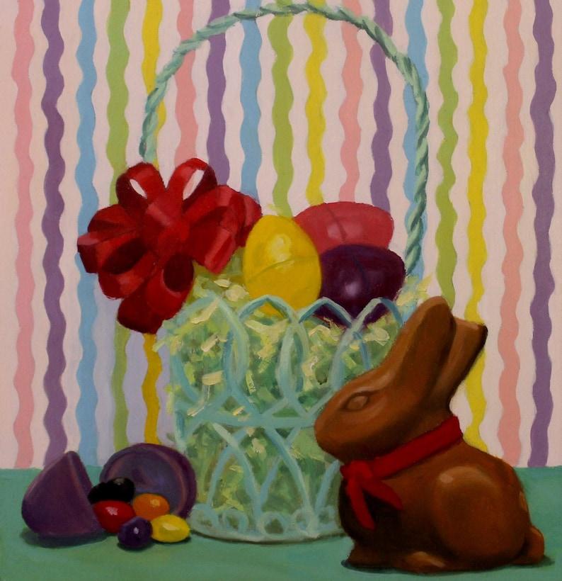 Chocolate Easter Bunny  Original Oil Painting  Fine Art  image 0