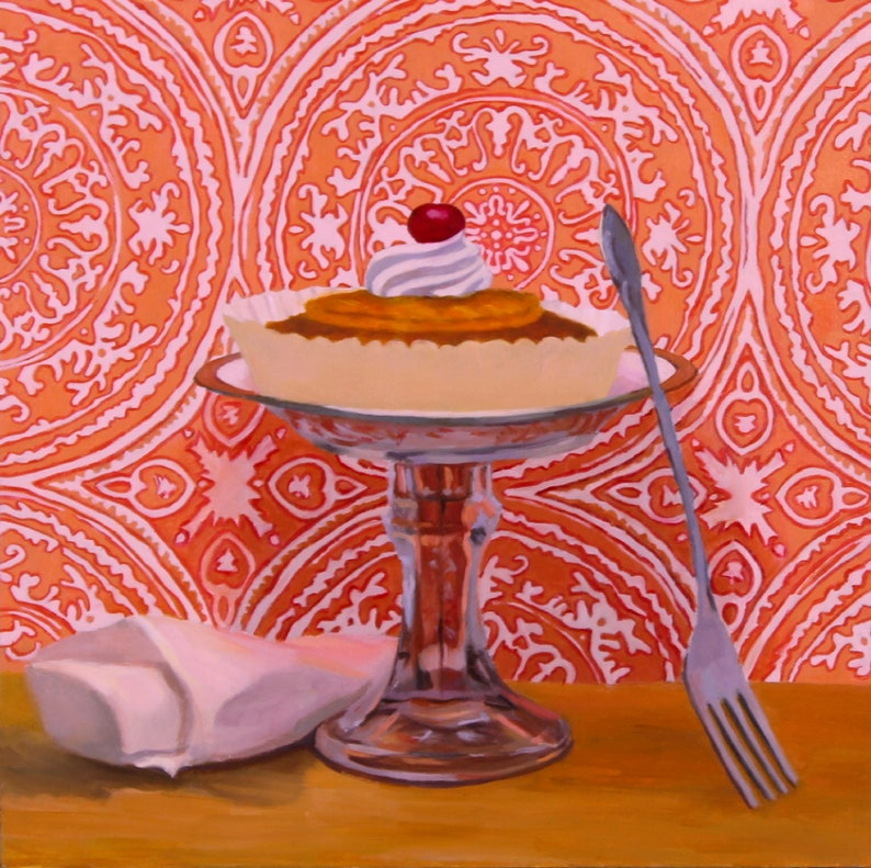 Pineapple Upside Down Cake  Original Oil Painting  Fine Art image 0