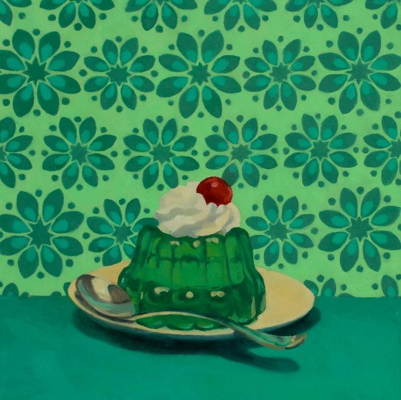 Lime Gelatin Dessert  Original Oil Painting  Fine Art  Gift image 0