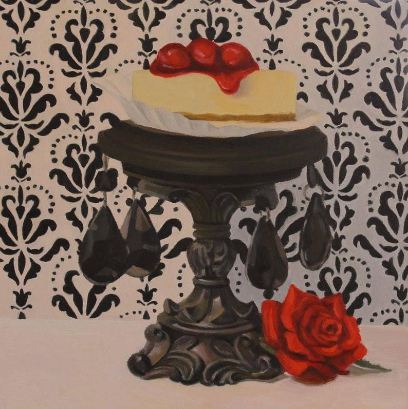 Cheesecake  Original Oil Painting  Fine Art  Gift  Dessert image 0