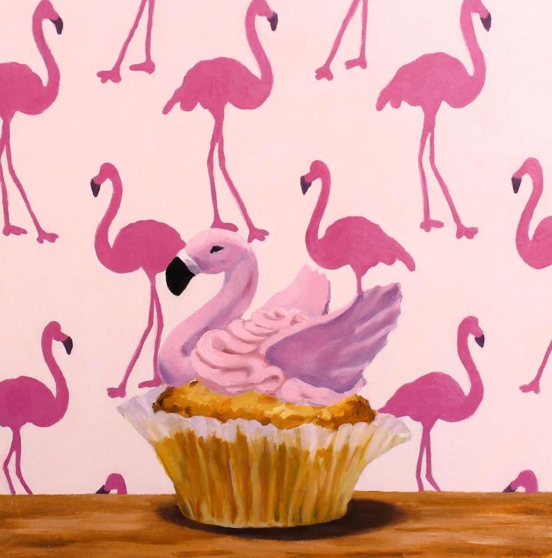 Pink Flamingo Cupcake  Original Oil Painting  Fine Art  image 0
