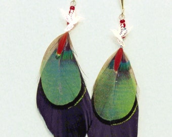 natural feathers with silver hook earrings