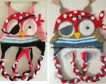Two multicolored pirates twins crochet hats