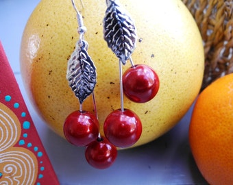"""2 """"cherry"""" OREILLES BOUCLES colors and magic beads"""