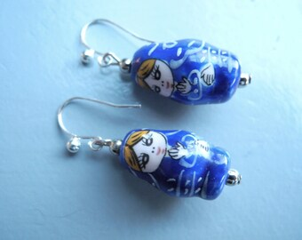 Silver earrings with blue porcelain dolls