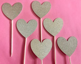 Heart Glitter Cupcake Toppers, Engagement, She Said Yes, Wedding,  I Do, Bridal Shower, Champagne Gold, Bachelorette, Love Cupcake Toppers
