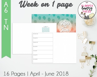 Week on 1 Page Apr - Jun '18 | A6 TN | Digital Download | Travelers Notebook | April May June 2018 WO1P