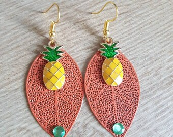 Beautiful orange pineapple earrings