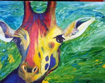 spontaneous realism painting of a giraffe