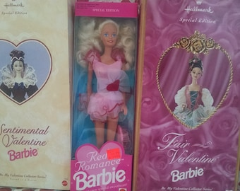 Lot of 3 Valentine Barbies including Red Romance, Sentimental Valentine, and Fair Valentine Barbies