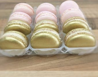 50 Pink and Gold favours, gluten free, sugar cookies, french macarons, wedding favours, baby shower favours, christening favours,